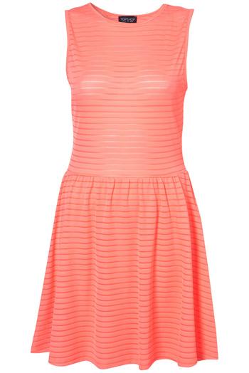 Cutout Back Self Stripe Dress