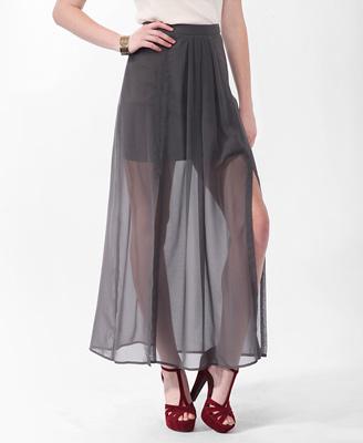 Pleated Slit Maxi Skirt