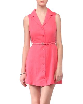 Notched Lapel Shirtdress W/ Belt