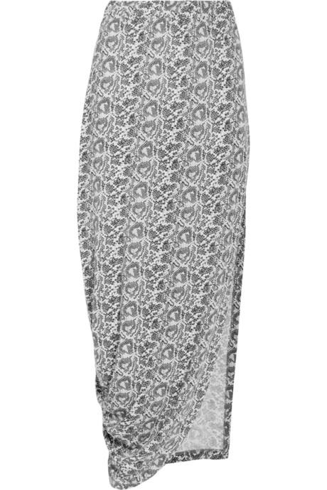Thakoon Addition Carbon Copy Print Jersey Maxi Skirt