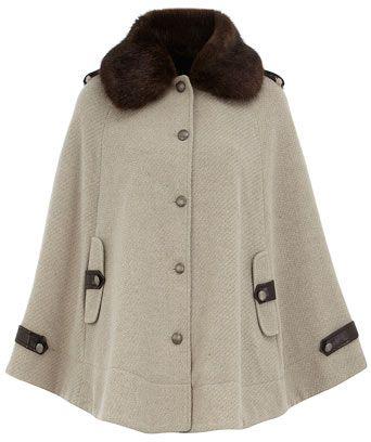 Fur Collar Cape Coat