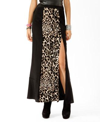 Forever 21 Leopard Panel Maxi Skirt