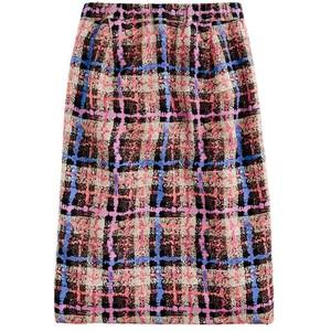 Checkered Pattern Pencil Skirt