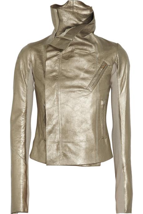 Rick Owens Classic Metallic Leather Biker Jacket