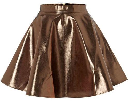 Metallic Flared Party Skirt