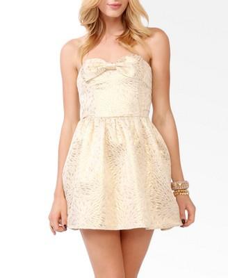 Brocade Bow Tube Dress