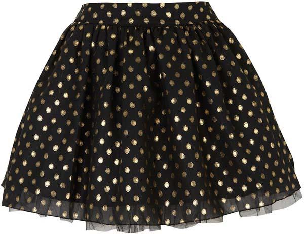 Polka Dot Flared Party Skirt