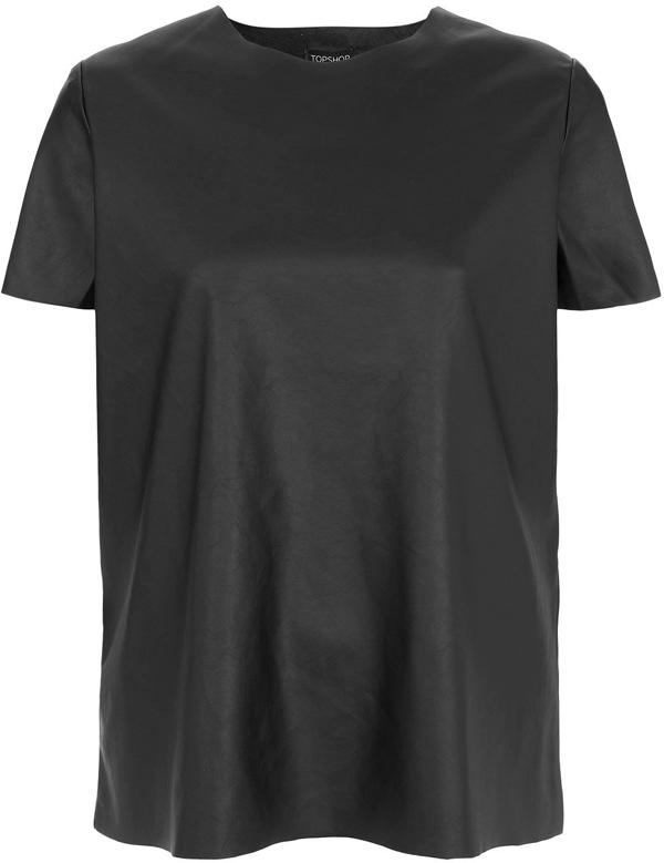 Black Faux Leather T-Shirt
