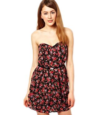 Jarlo Floral Bandeau Dress with Belt
