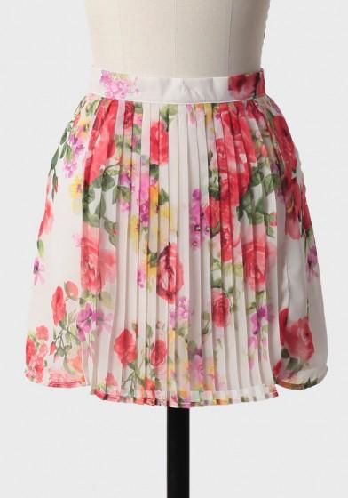Wild Rose Pleated Skirt
