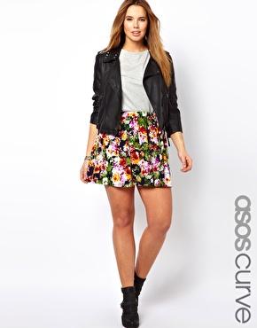 ASOS Curve Skater Skirt in Floral