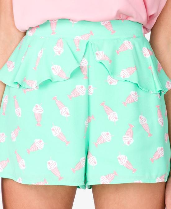 High-Waisted Ice Cream Print Shorts