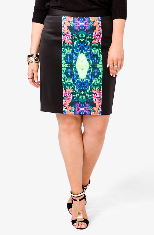 Floral Paneled Pencil Skirt