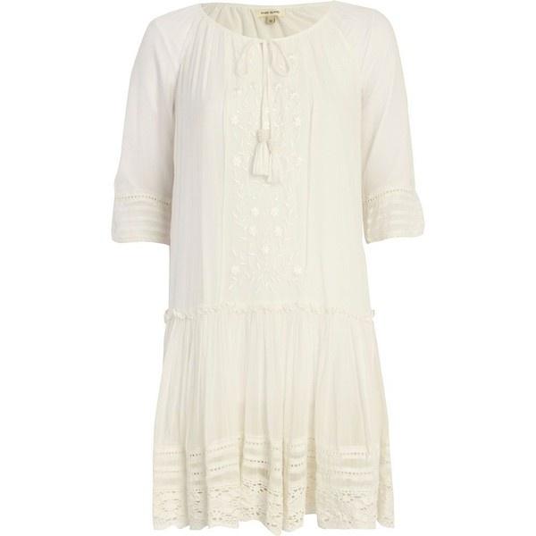 Cream Drop Waist Dress