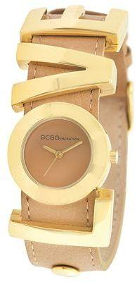 BCBGeneration Love Charm Tan Leather Strap Watch