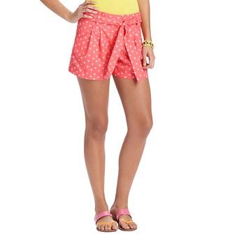 "Pop Dot Print Linen and Cotton Tie Waist Shorts with 4"" Inseam"