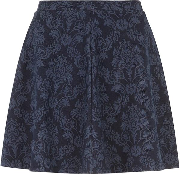 Paisley Denim Skater Skirt