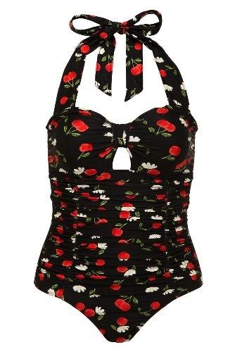 Black Cherry Halter One-Piece Swimsuit