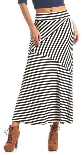 Asymmetrical Stripe Maxi Skirt