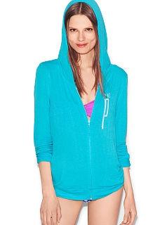 VS Pink Drapey Zip Hoodie in Neon Blue