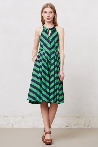 Anthropologie Emerald Ripple Dress