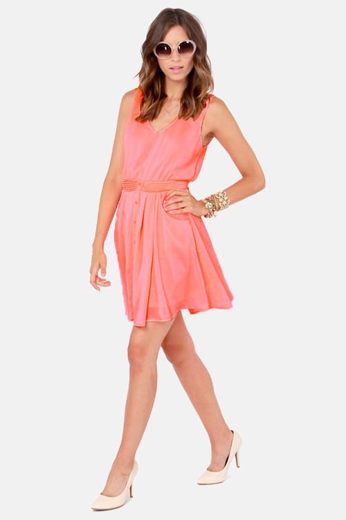 Brilliant Beginnings Neon Coral Dress
