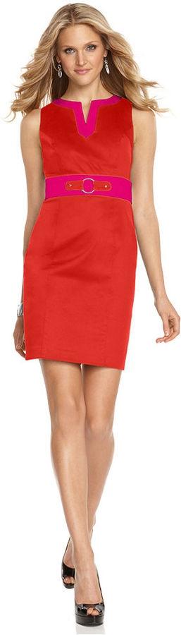 AGB Petite Dress Sleeveless Split Neck Color Block Sheath