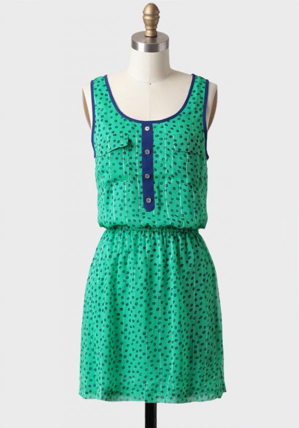 Polka Dot Pop of Color Dress