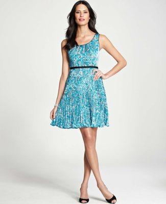 Ann Taylor Petite Paisley Pleated Swing Dress