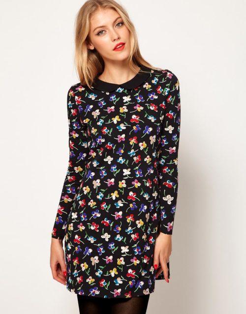 ASOS – Swing Dress in Floral Print with Peter Pan Collar