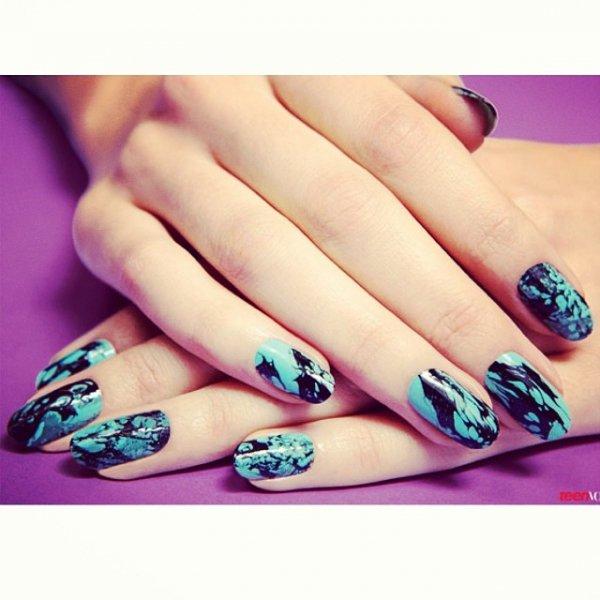nail, turquoise, manicure, petal, cosmetics,