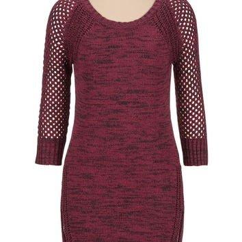 Burgundy Mixed Stitch Marled Sweater Dress
