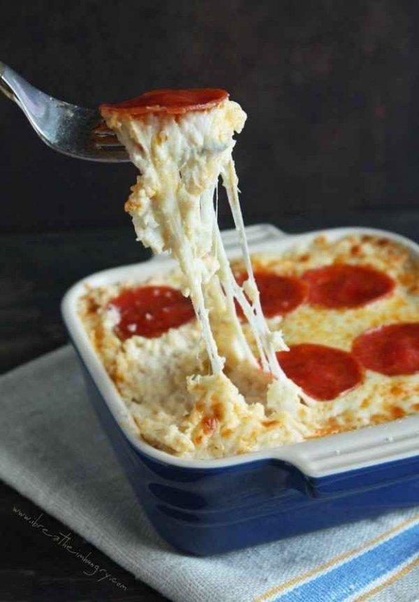 Pepperoni Pizza Cauliflower Casserole