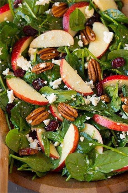 Apple Pecan Feta Spinach Salad with Maple Cider Vinaigrette
