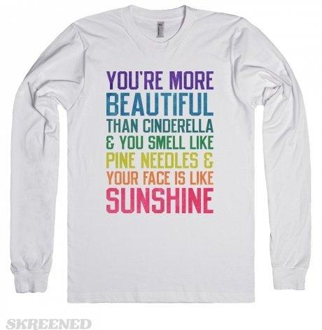 You're More Beautiful than Cinderella (Long Sleeve)-White T-Shirt
