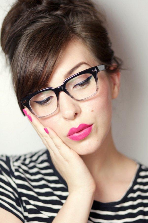 Pink Lips and Eyeglasses