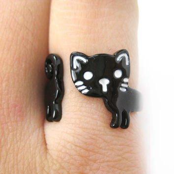 Cartoon Cat Wrap around Ring