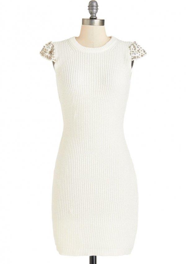 ModCloth Mid-length Cap Sleeves Sweater Dress Going All Haute Dress