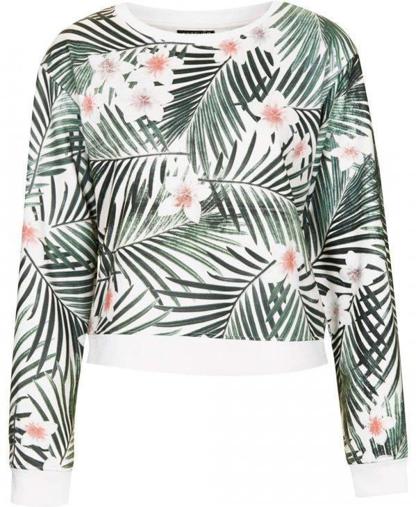 Topshop Palm Print Sweater