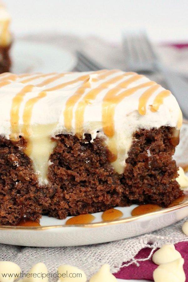 White Chocolate Gingerbread Poke Cake: