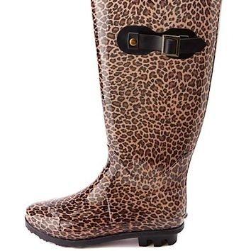 Rubber Leopard Print Rain Boots