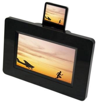 "Mustek 7"" Digital Photo Frame with Integrated Apple IPod Docking Station"