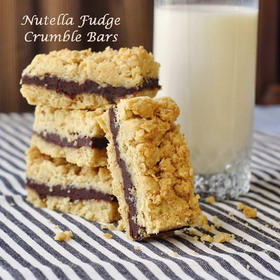 Nutella Fudge Crumble Bars