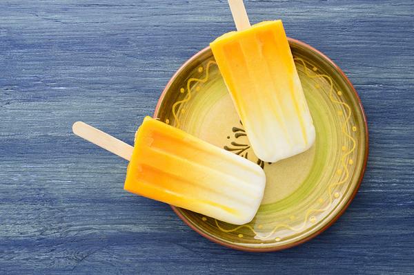 Mango Orange Yogurt Popsicles