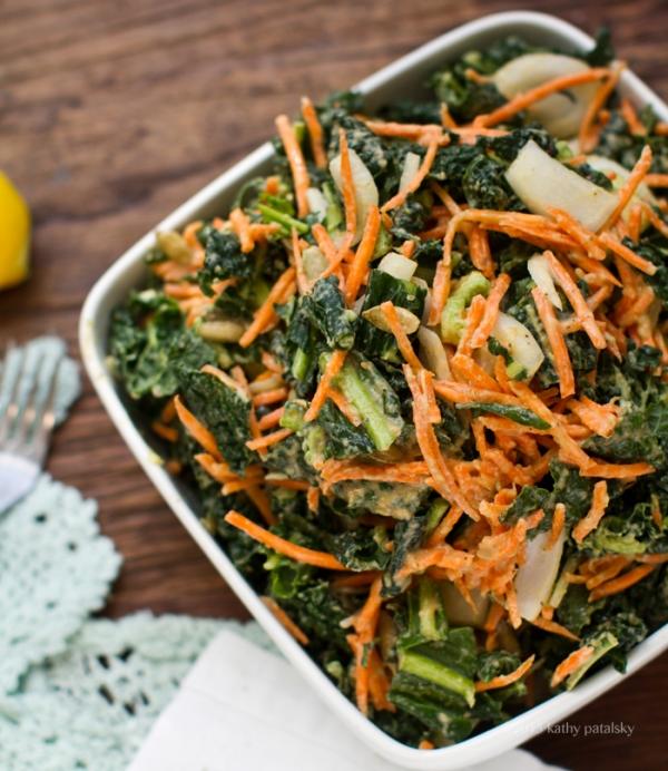 Raw Kale Salad with Sundried Tomato Cashew Dressing