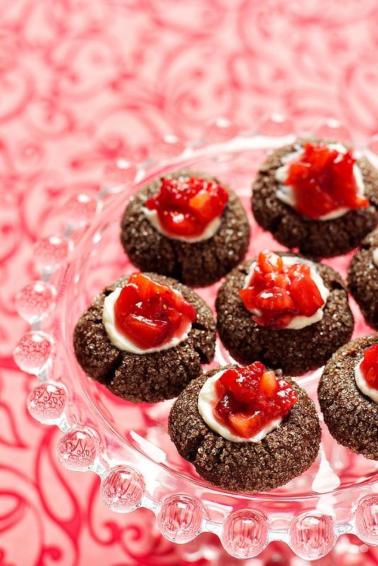 Chocolate Strawberry Thumbprints