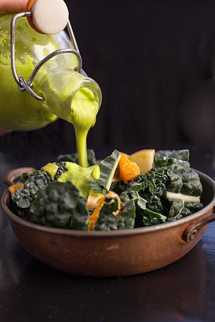 Immunity Salad with Raw Spinach Garlic Dressing