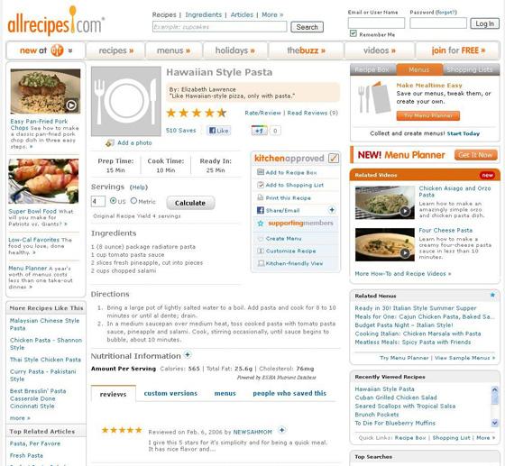 Hawaiian Style Pasta at allrecipes.com