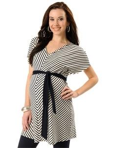 Loved by Heidi Klum Short Sleeve Deep V-neck Empire Waist Maternity Tunic