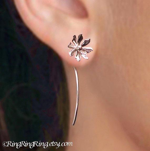 Wild Flower Long Stem - Sterling Silver Earrings